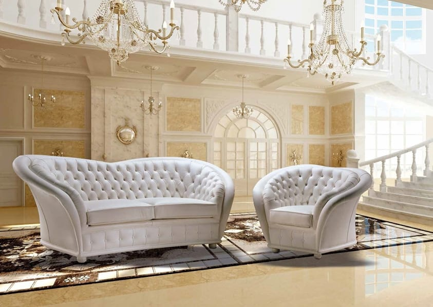 VERSAILLES, Tufted sofa covered in leather