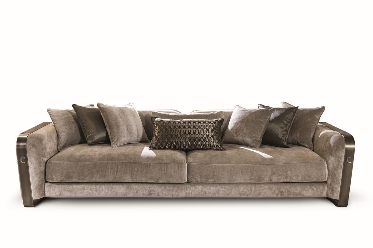 Voyage sofa, Sofa in velvet and leather, with elegant design