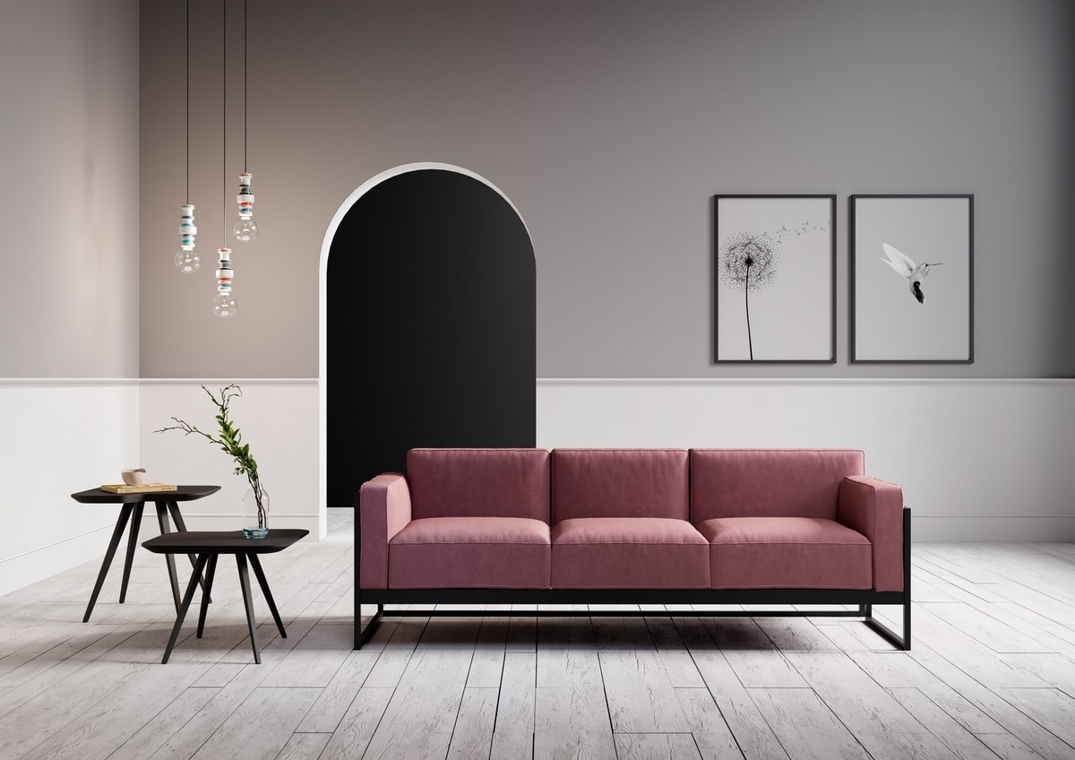 ART. 0062 0064 KIRK, Elegant collection of two-seat and three-seat sofas