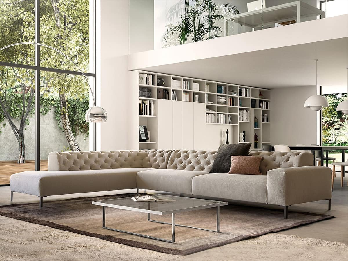 Boston capitonné, Comfortable sofa, with a refined design