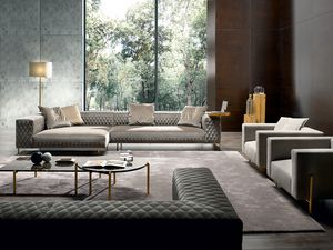 Brera Plus, Sofa with quilting in leather or fabric