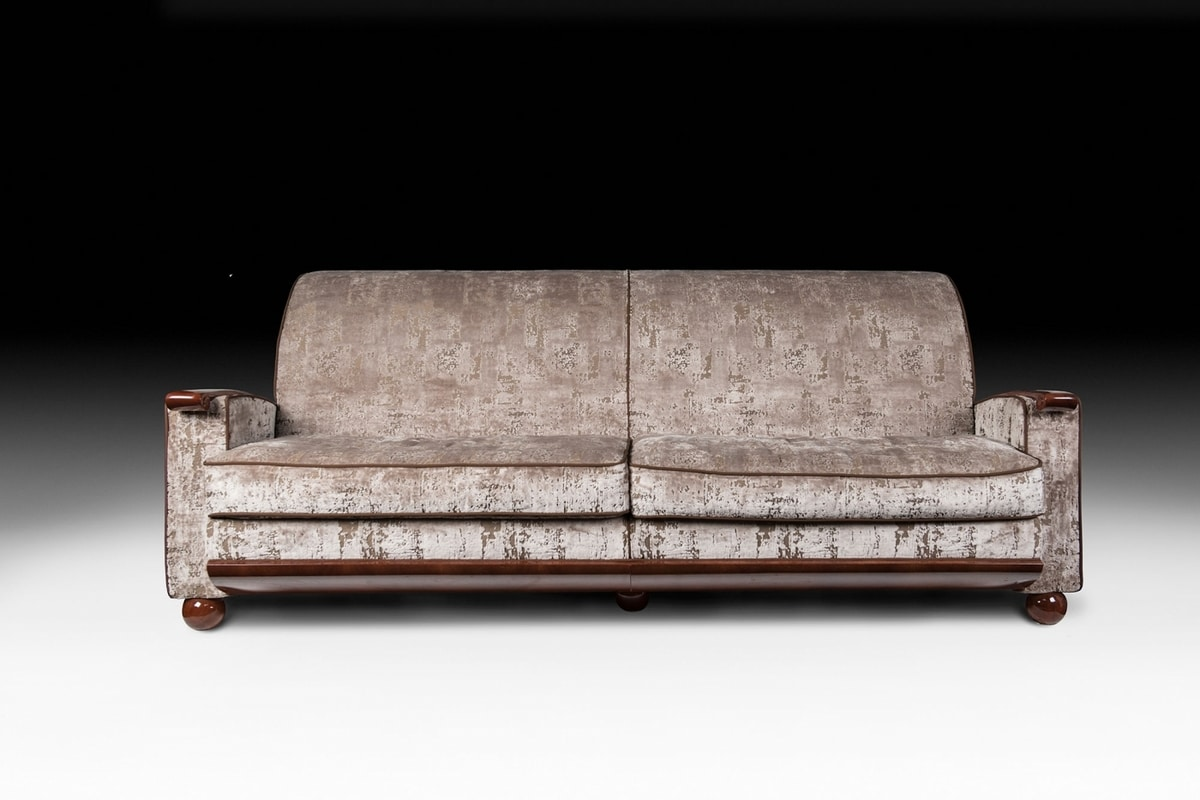 Deco, Sofa with solid walnut structure