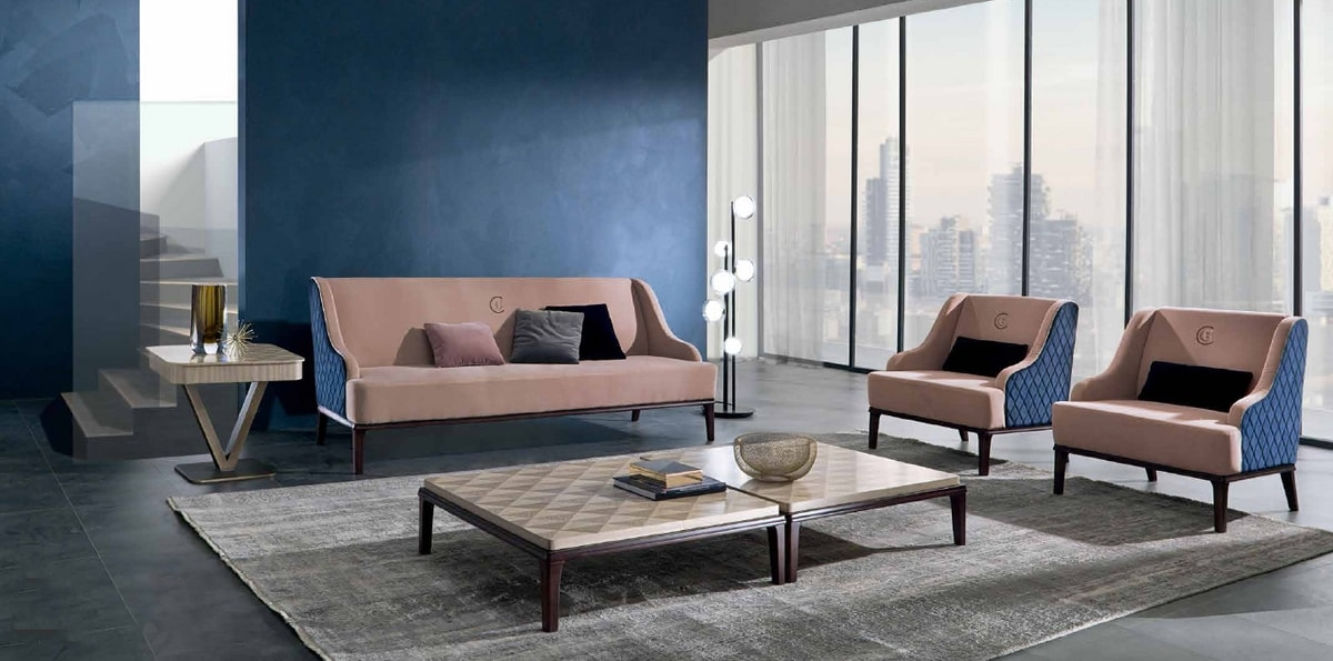 DI45 Square sofa, Sofa with external padding with diamond pattern