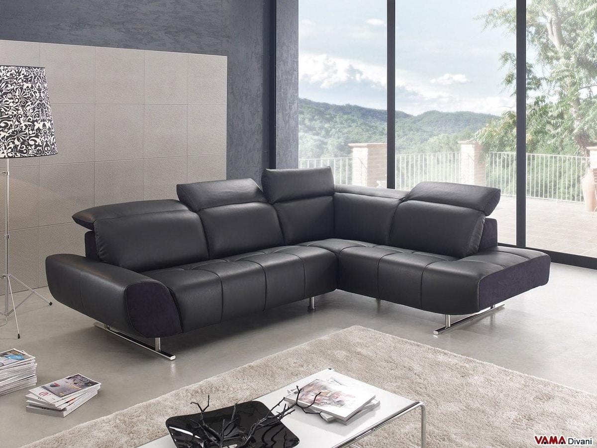 Domino, A modern corner sofa with high feet in chromed steel