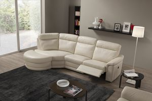 Elena, Leather sofa with chaise longue