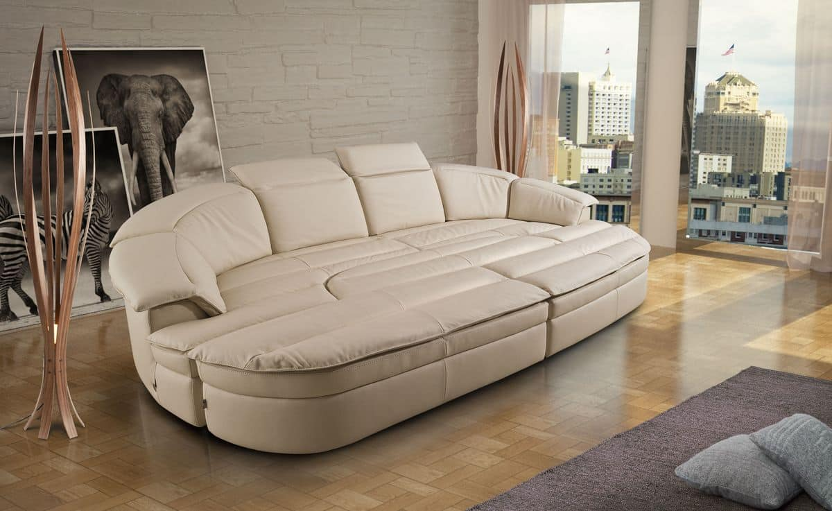 Galaxy, Modular Sofa Made Of Leather, Bicolor