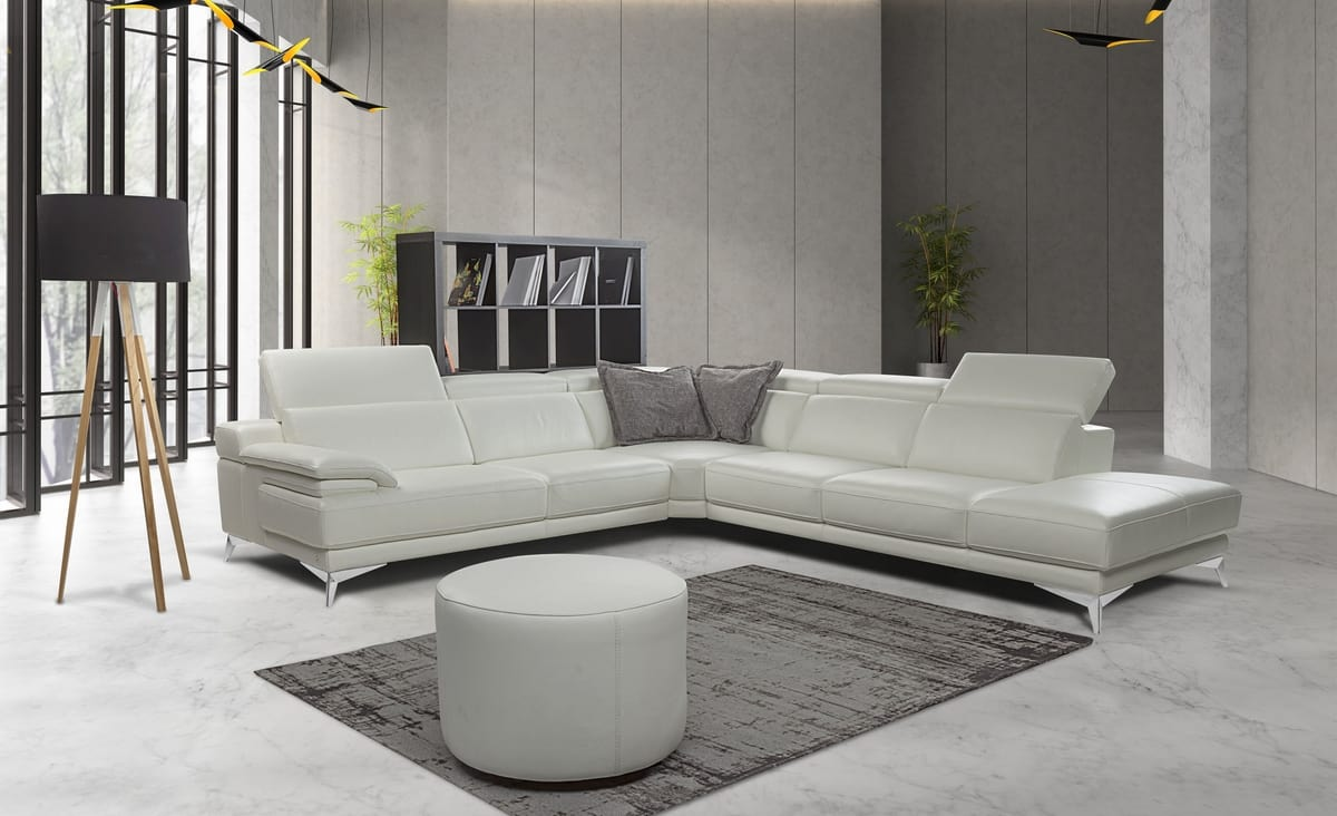 Corner Sofa In Leather With Metal Feet   IDFdesign