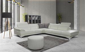 Idris, Corner sofa in leather with metal feet