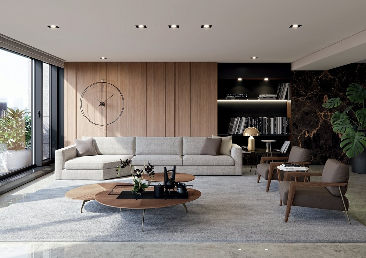 Laguna, Sofa with simple lines and soft volumes