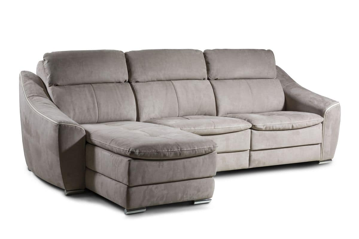 Merveilleux Morena, Leather Sofa With Reclining Backrest And Footrest