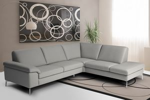 Pascal, Corner sofa in leather with armrests