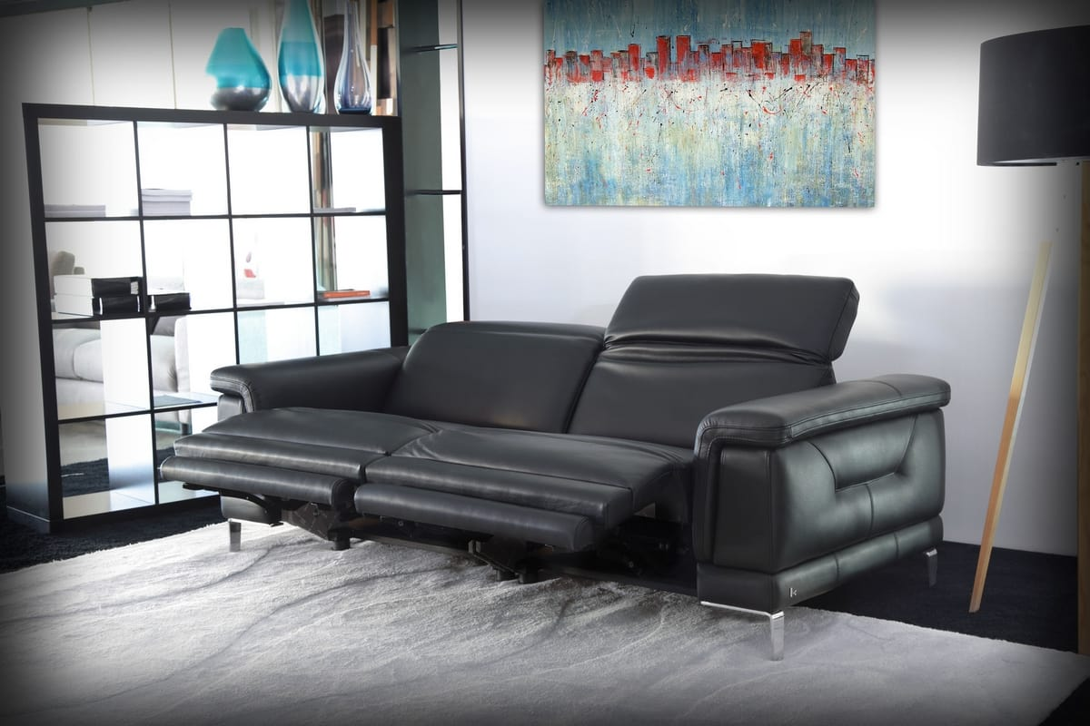 Portland, 2 Seater Sofa In Black Leather
