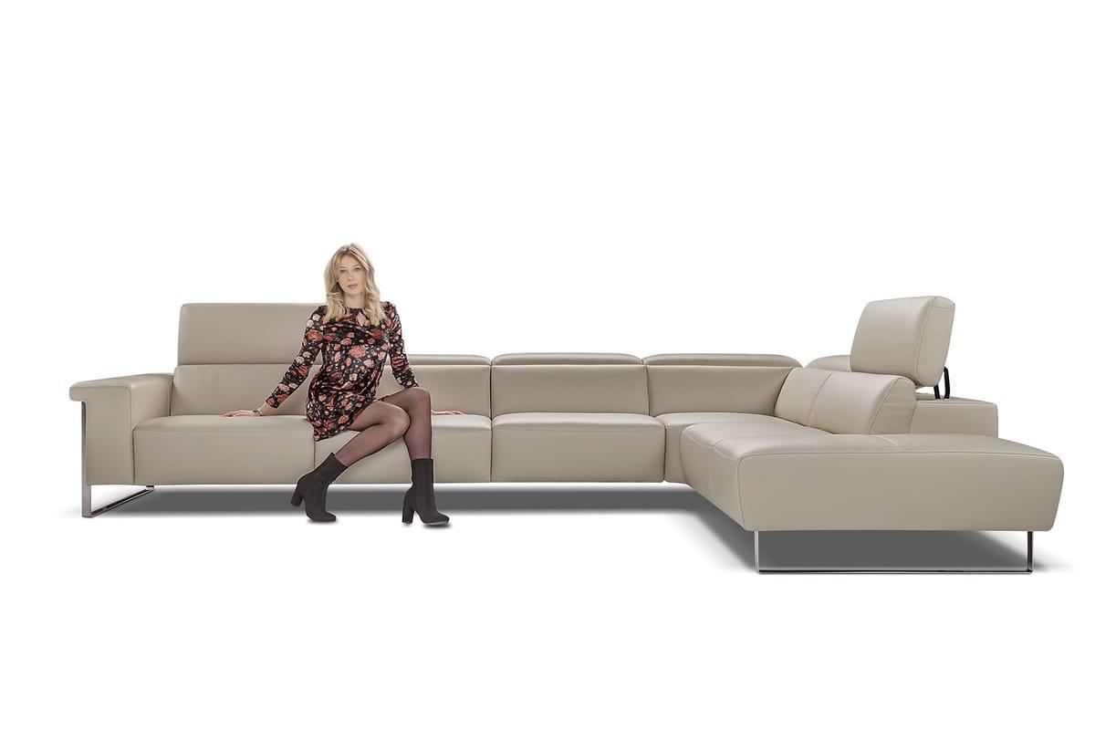 Corner leather sofa with headrest | IDFdesign