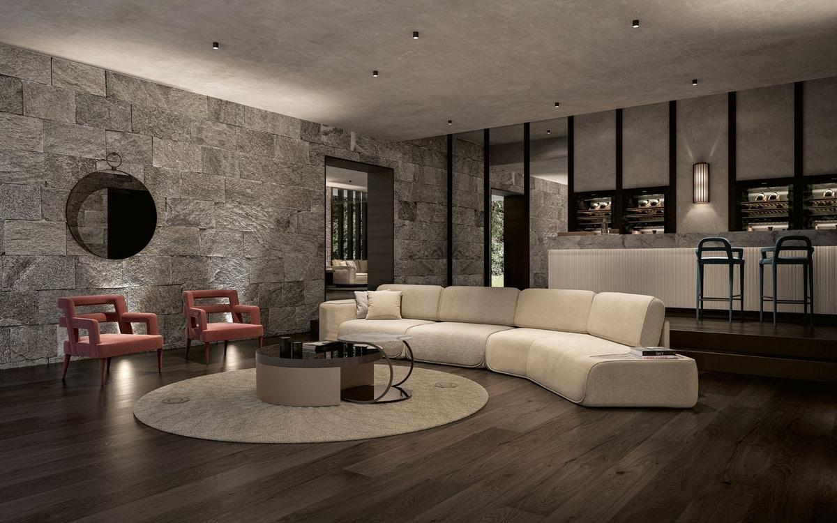 Starlight Art. ST736SX ST734DX, Modular sofa with marble coffee table