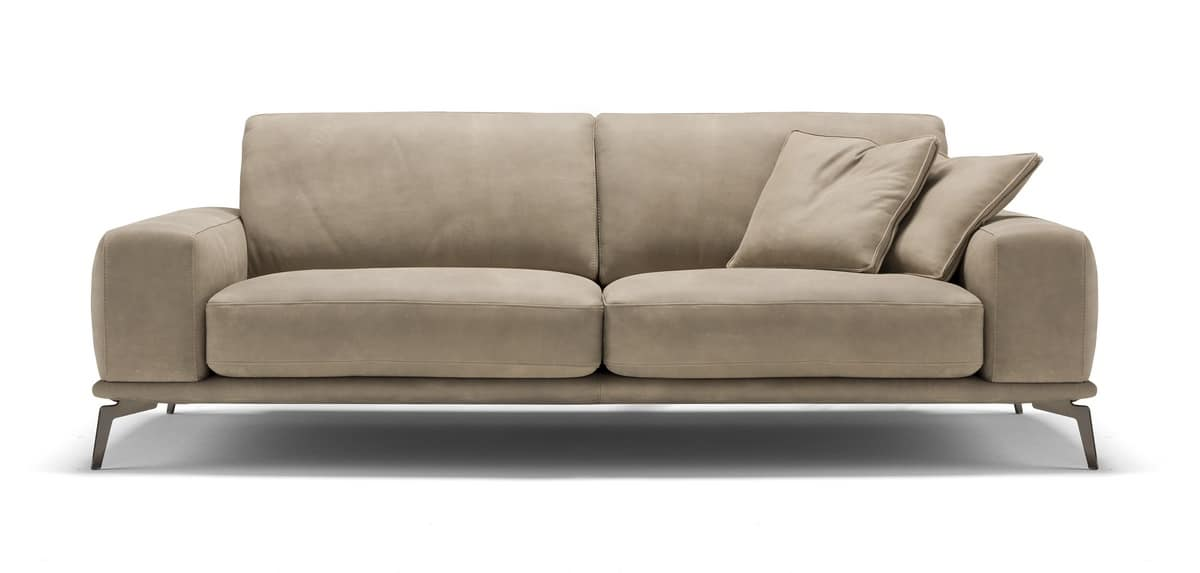 Charmant Tivoli Fixed, Sofa With Polyurethane Foam And Leather Cushions With  Removable Covers