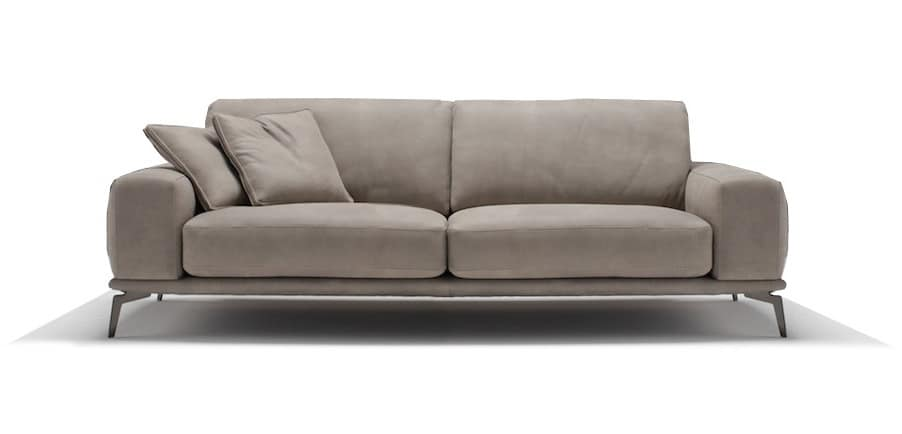 Tivoli Fixed Sofa With Polyurethane Foam And Leather Cushions Removable Covers