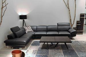 Zuma, Corner sofa in leather with adjustable backrest