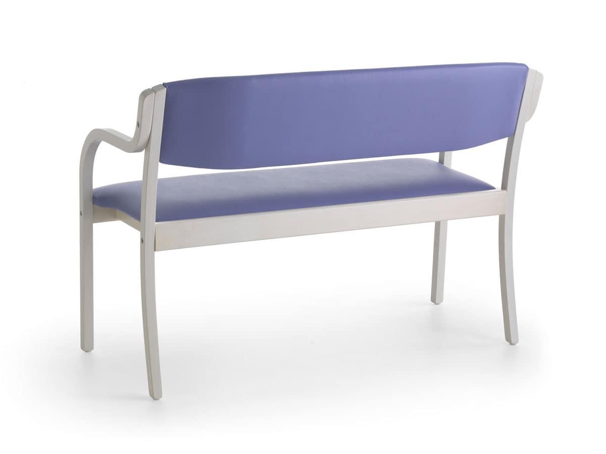 Marta 03 D, Sofa for communities, natural wood