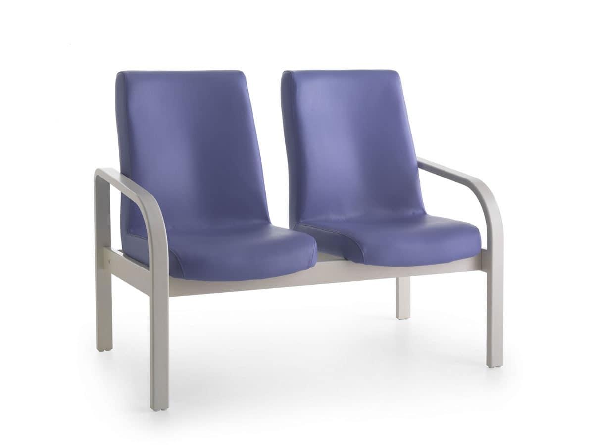 Marta 09 2P, Upholstered bench, 2-seater, ergonomic, for nursing home