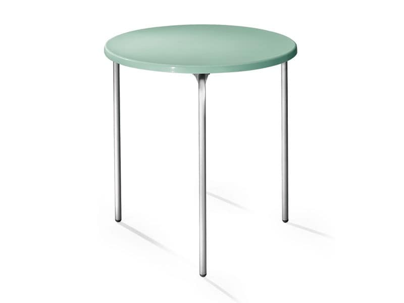 Table Ø 72 cod. 01, Round table, top in polypropylene, aluminum legs