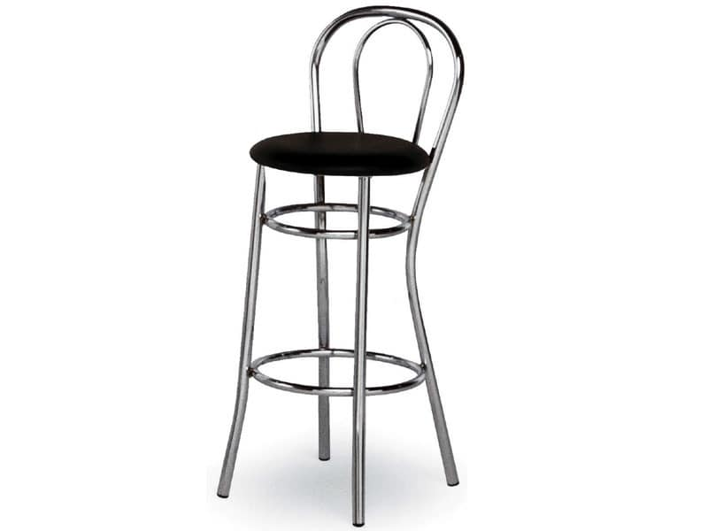 537, Barstool in curved chrome steel, for snack bars