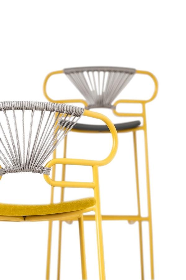 ART. 0049-MET-CROSS-IM STOOL GENOA, Padded stool, with woven rope back