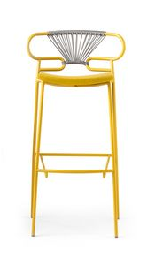 ART. 0049-MET-CROSS-IM STOOL GENOA, Padded stool, with woven rope back