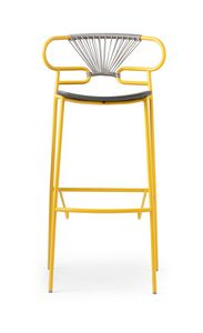 ART. 0049-MET-CROSS-PU STOOL GENOA, Stool made of metal, polyurethane and rope