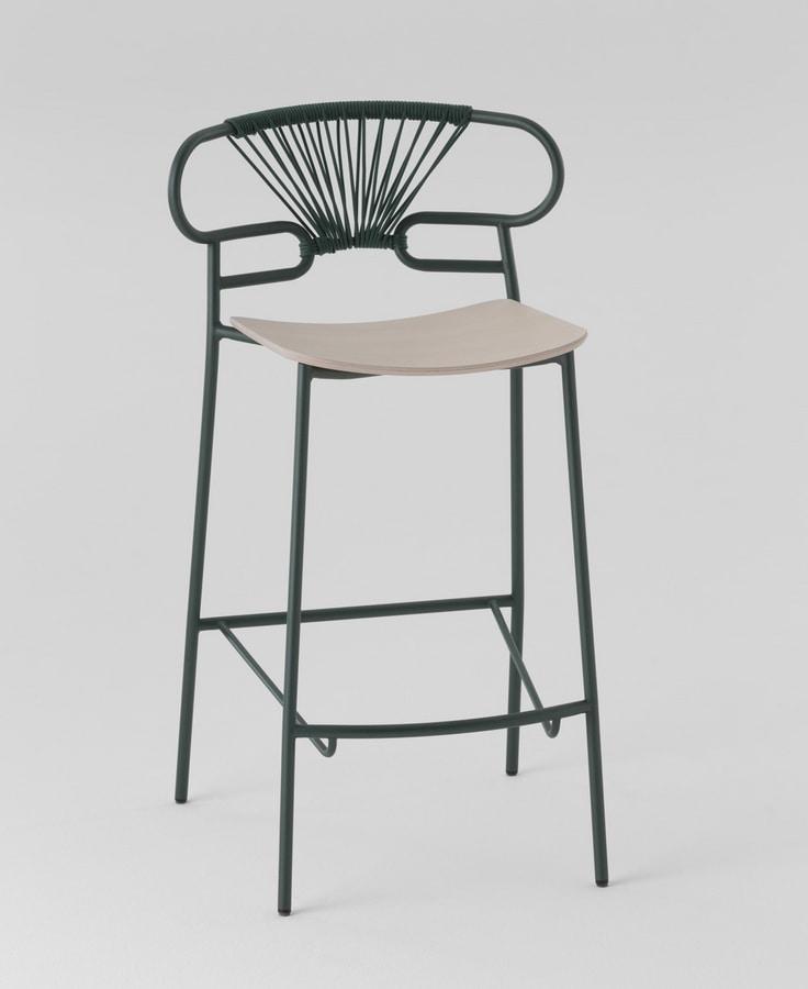 ART. 0049-MET-CROSS STOOL GENOA, Metal stool with wooden seat