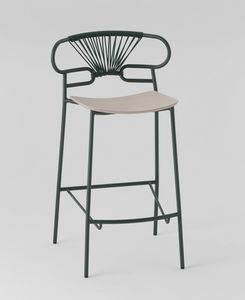 ART. 0049-MET-CROSS STOOL GENOA, Metal stool with wooden seat