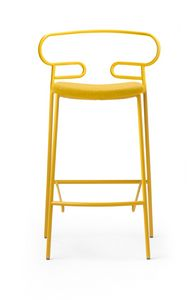 ART. 0049-MET-IM STOOL GENOA, Padded stool, with metal base
