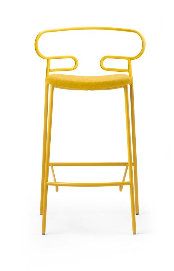 ART. 0049-MET-IM STOOL GENOA, Padded stool, with metal base