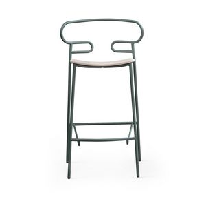 ART. 0049-MET STOOL GENOA, Metal stool with wooden seat