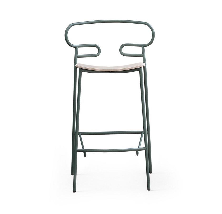 ART. 0049-MET STOOL GENOA, Metal stool with wooden seat