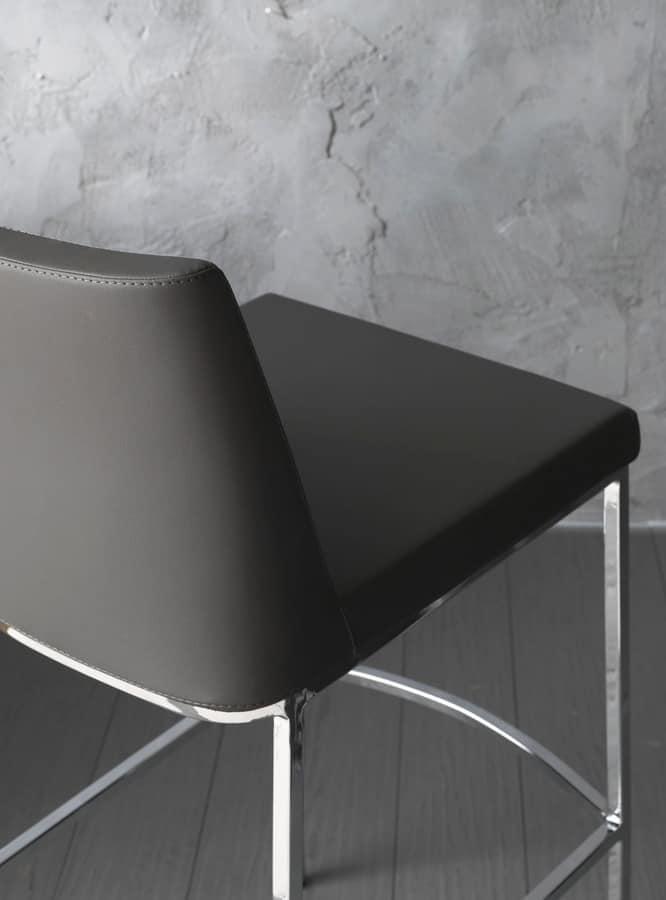 Art. 561 Erik, Stools metal chrome, with upholstered seat