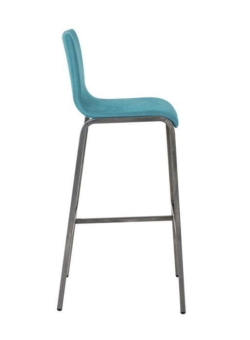 Art.Niù barstool, Metal barstool with padded seat for the kitchen, bar and hotel