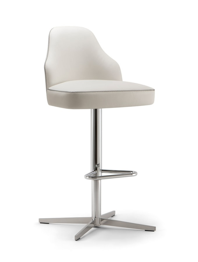 CHICAGO BAR STOOL 015 SG X, Stool with a modern cross base