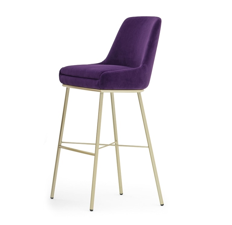 Danielle 03685, Metal stool, with foamed seat and back