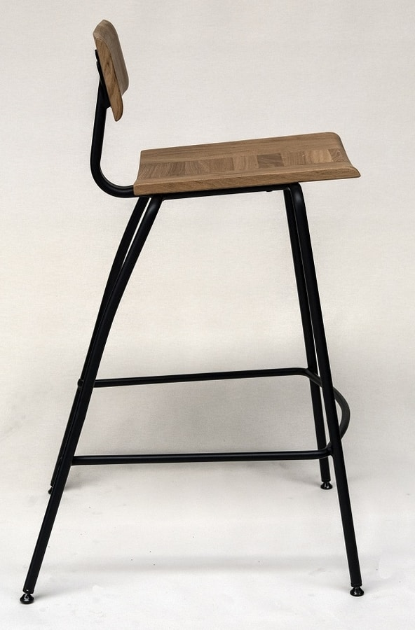 EAGLE A02 A03, Stool in metal and natural oak