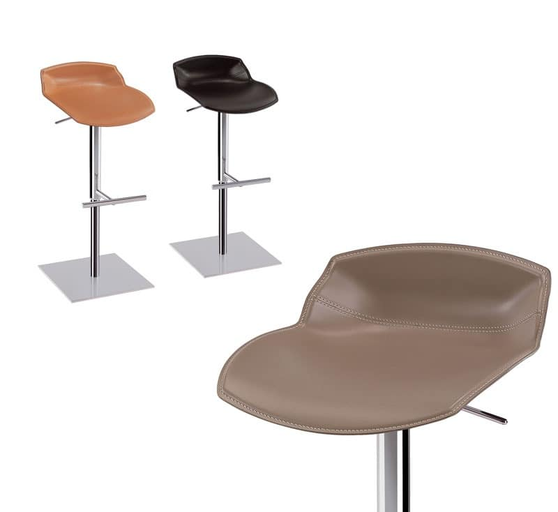 Kaleidos barstool leather, Design barstool with leather seat, for contract use
