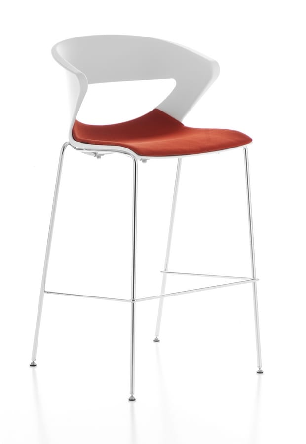 Kicca stool, Stool in metal and polypropylene, also available upholstered