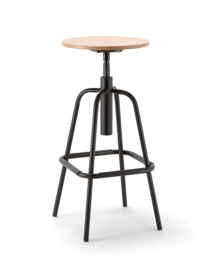 Mea Wood 05, Stool with round wooden seat