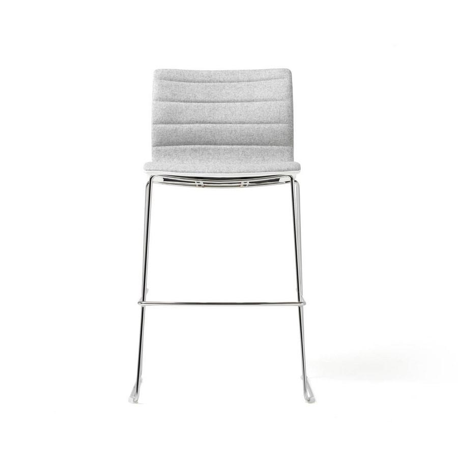 Miss stool, Padded stool with chromed steel frame