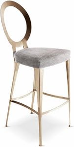 Miss stool with uncovered backrest, Contemporary, simple and linear barstool