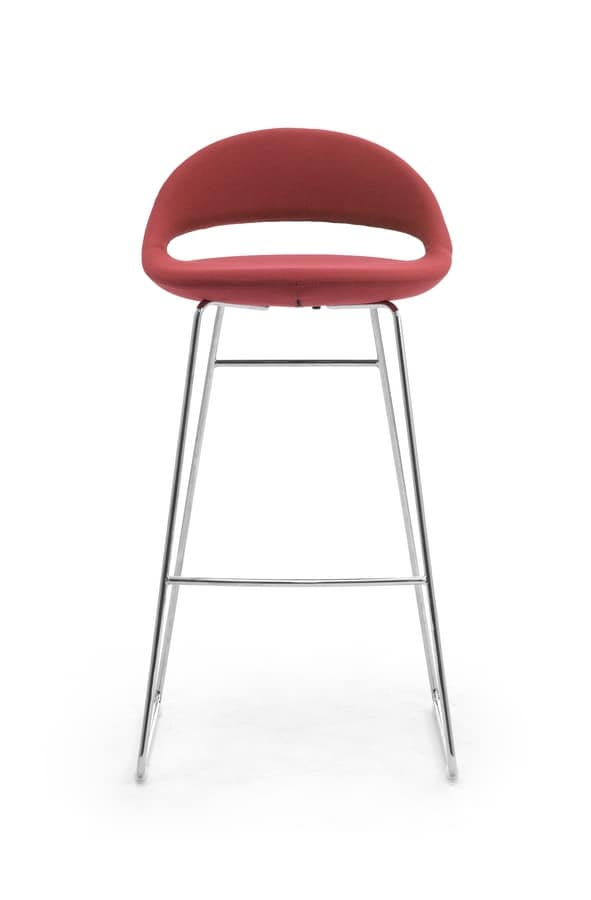 Samba sled Stool, Stool with base in rod, with padded shell