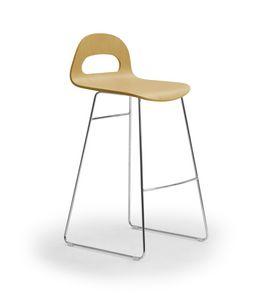 Samba Wood stool sled, Stool with sled base, wooden shell