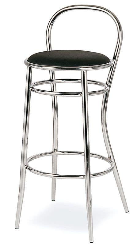 SG 020, Stool in curved metal, round seat, for hotels