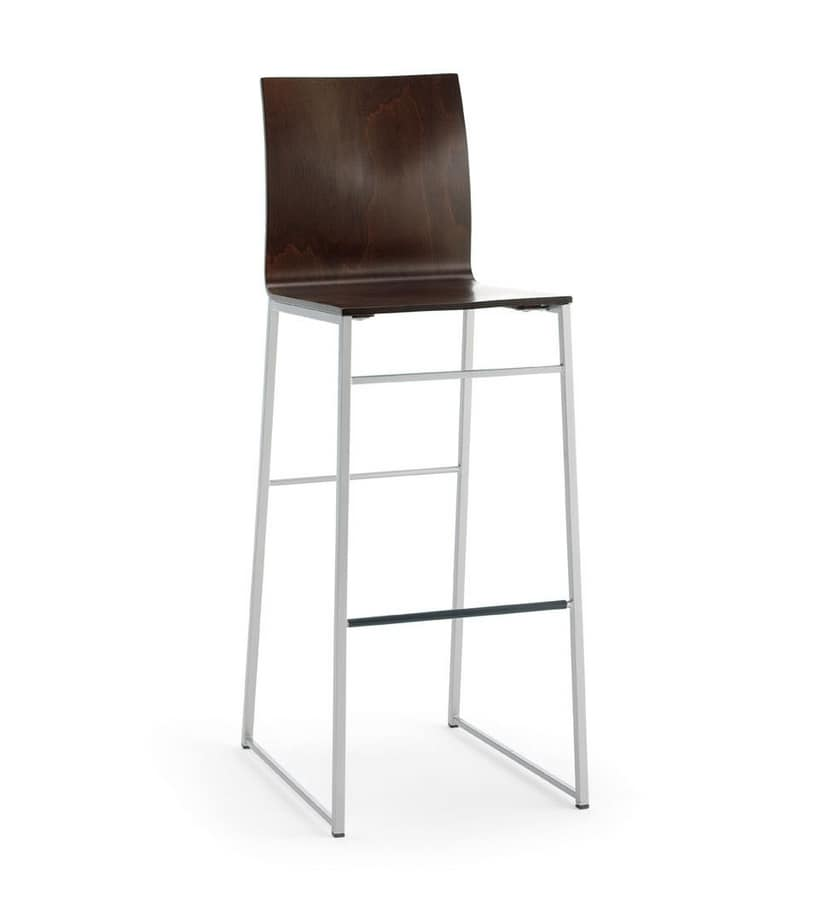Sg. MELISSA wood, Sled base barstool, for contract and residential use
