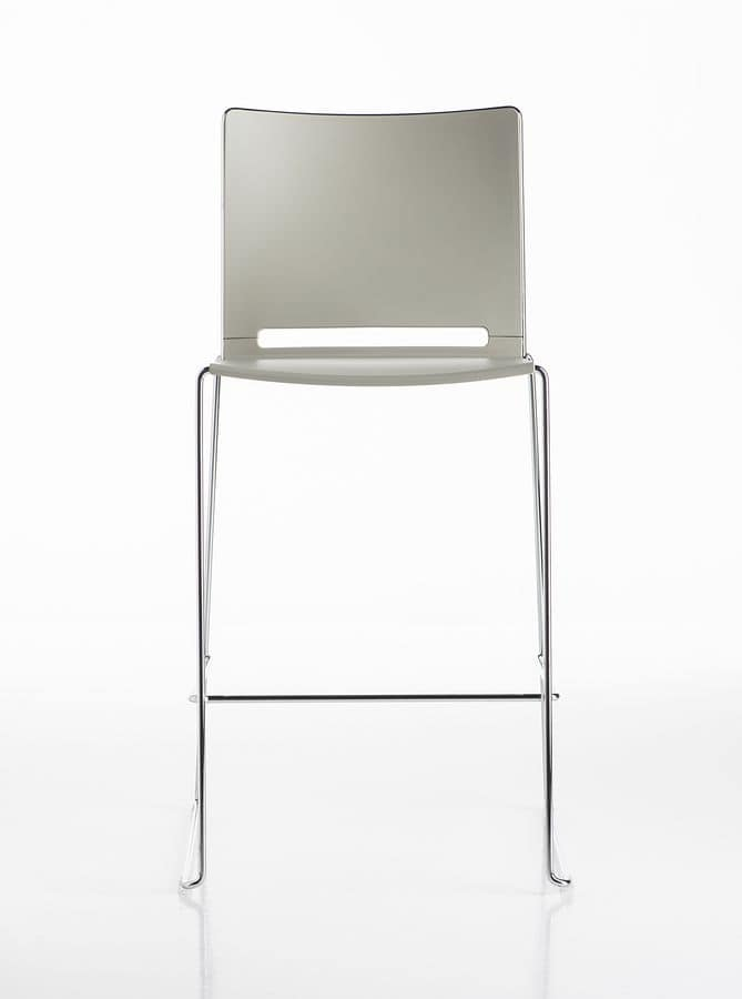 Slim stool, Colored stool, in metal, for break areas, bars, kitchens