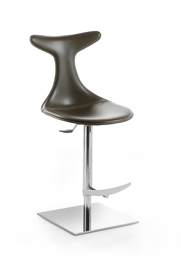 Vito barstool, Height-adjustable barstool, swivel, with seat covered in thick leather